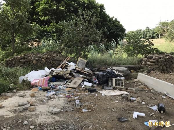 台68快速道路橋下靠近新竹市運動公園處遭人偷倒建築廢棄物,環保局和警方到場蒐證,已追查到可疑對象,除了開罰,也由警方移送地檢署偵辦。(記者洪美秀攝)