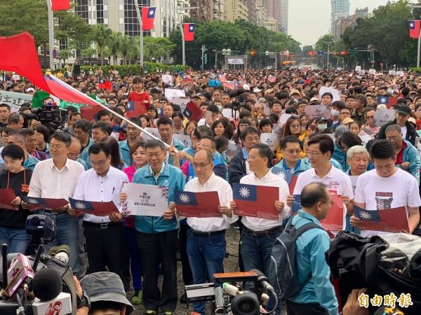 台北市長柯文哲今早主持「中華民國107年度國慶升旗暨慶祝活動」。(記者沈佩瑤攝)