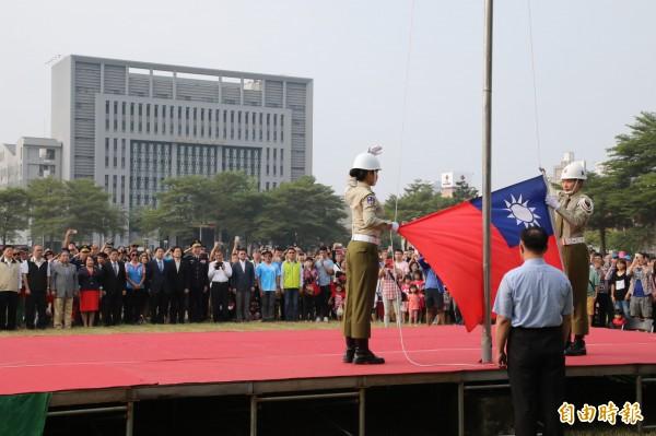 台南市府慶祝雙十升旗典禮。(記者洪瑞琴攝)