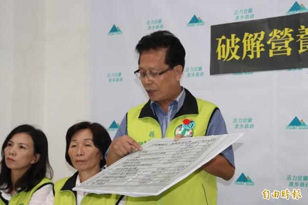 縣議員劉添梧說,羅東財源好要感謝前鎮長林聰賢,推動公共造產,創造財源。(記者林敬倫攝)
