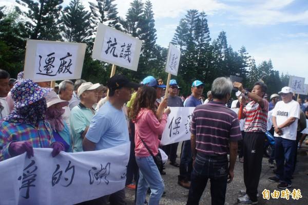 中油湖西油庫爆發漏油隱匿事件,湖西鄉民曾發動圍廠抗爭。(記者劉禹慶攝)