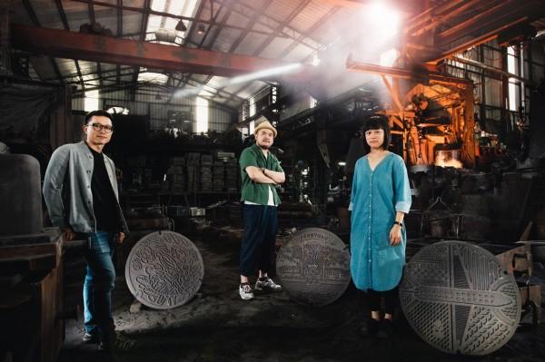 藝術家川貝母(左起)、鄒駿昇、陳姝里。(水利局提供)