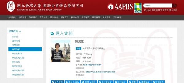 台灣大學國企系教授陳思寬原本預計要去中華經濟研究院擔任院長,卻因台大與中經院打官司,借調案不通過。(取自台大網頁)
