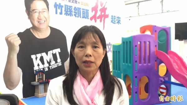 楊文科競選總部發言人田昭容說,連郁婷等人的抗議行為找錯對象了,全案發生時,楊文科並不在新竹縣服務。(記者黃美珠攝)