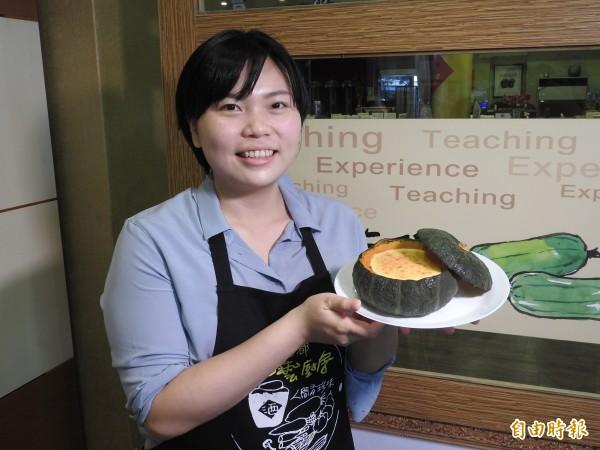 王子芸前年毅然砸下近百萬元,至藍帶廚藝學院日本神戶分校,接受正規法式甜點訓練。(記者佟振國攝)