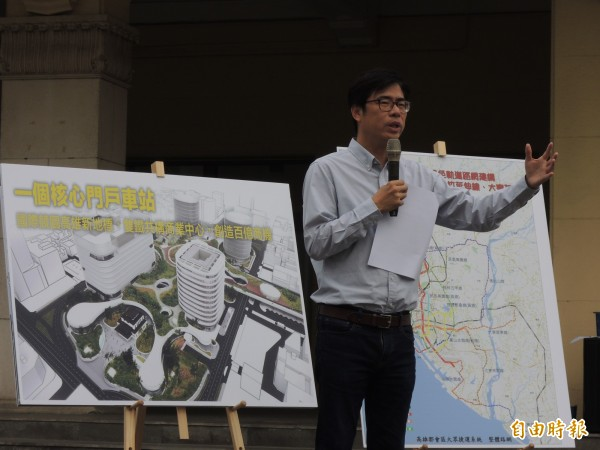 陳其邁闡述交通政見,質疑對手與其黨團對地方交通建設意見不一。(記者王榮祥攝)