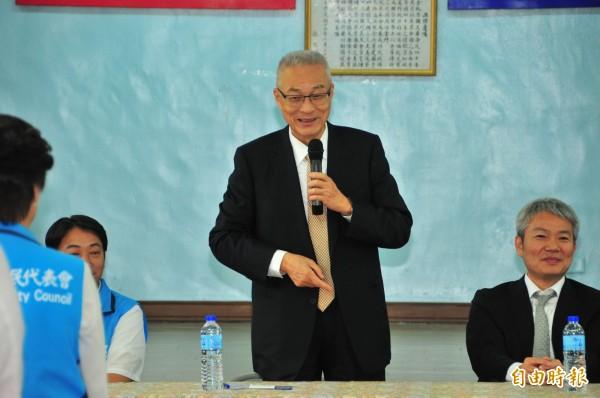 吳敦義說,當年韓國瑜打陳水扁,他很敬佩。(記者花孟璟攝)
