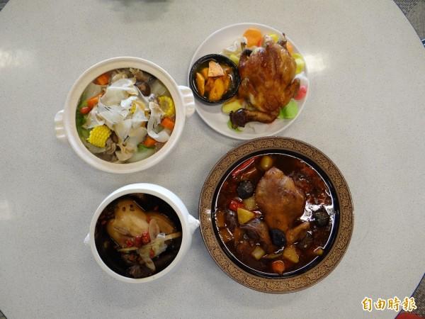 台南市南區永成路八六山雞城的各式特色雞料理美食。(記者王俊忠攝)