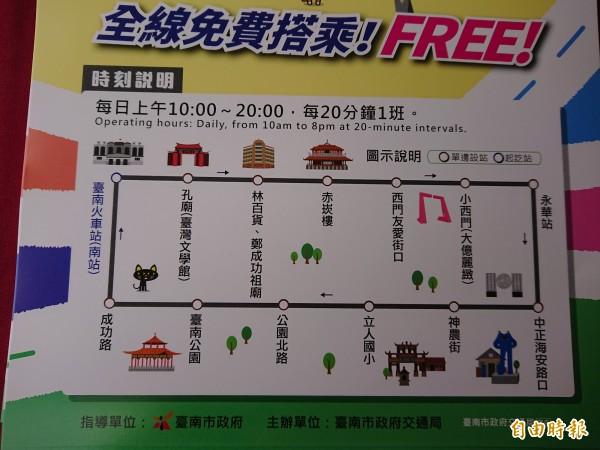 府城觀光巡迴巴士巡迴站表。(記者洪瑞琴攝)