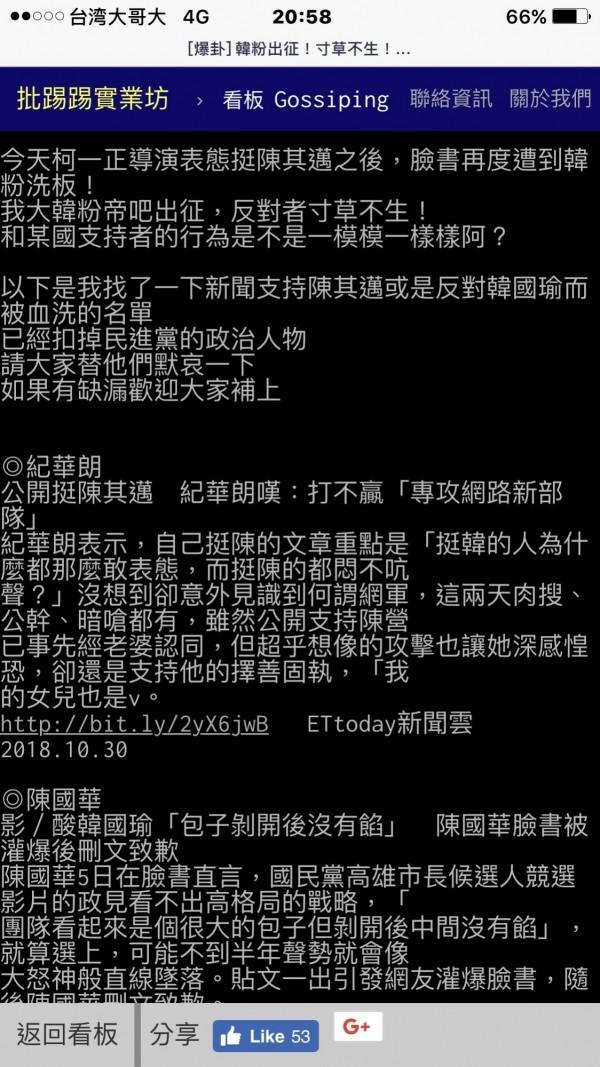 小野、柯一正挺陳其邁,慘遭韓粉網軍血洗攻擊,網友看不下去,到PTT上列出遭韓粉霸凌的名單。(取自PTT)
