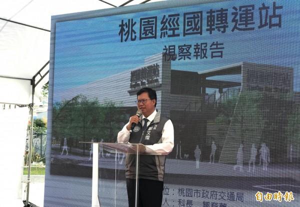經國轉運站月底將完工,市長鄭文燦今天前往視察。(記者陳昀攝)