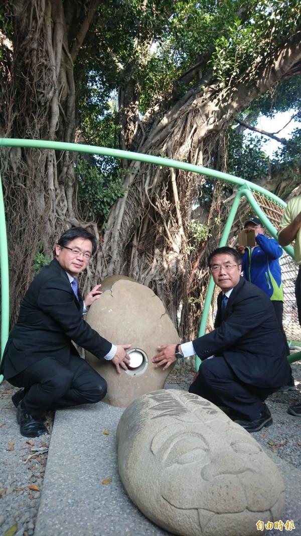 台江文化中心謝土,27庄頭廟宇祈福、還有許多民眾到場參與。(記者劉婉君攝)