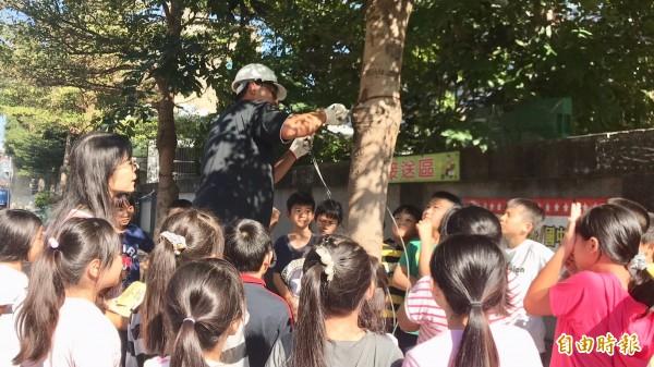 就在園藝業者替小葉欖仁樹鬆綁時,山崎國小4年9班的自然課也移師到現場,由老師蔡美子(左)當場教學讓小朋友知道如何尊重生命、認識樹木的保護。(記者黃美珠攝)