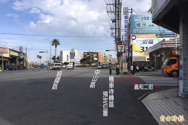 公路總局為改善大甲區經國路、中山路與義和二街口北上交通,將在義和二街口增設機車待轉區。(記者歐素美後製)