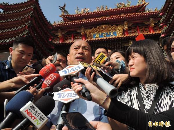 針對自己被立委陳瑩夢到,韓國瑜說她做她的夢,他沒有意見。(記者王榮祥攝)