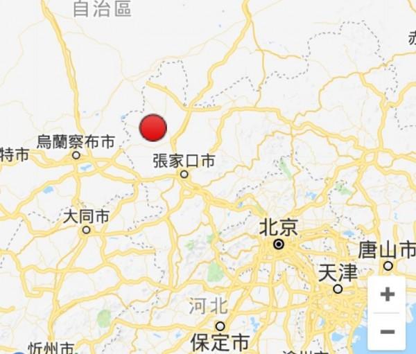 鄰近中國首都北京的河北省張家口市,在今(14)日下午5點6分,發生芮氏規模3.2的有感地震。(圖擷取自Google)