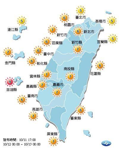 明日紫外線多為高量級。(圖擷自中央氣象局)