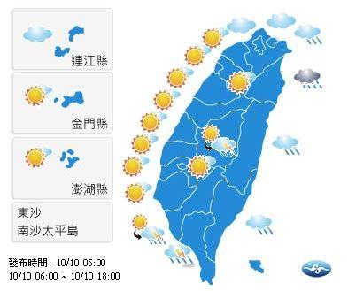 因偏東風的環境,西半部地區受背風沉降效應影響,高溫上看35、36度,大台北及東半部高溫則約33度上下。(圖擷自中央氣象局)