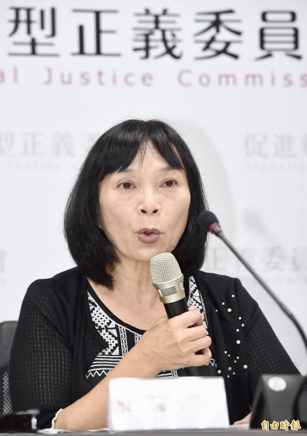 促轉會發言人楊翠召開記者會,說明促轉會前副主委張天欽事件調查結果。(記者羅沛德攝)