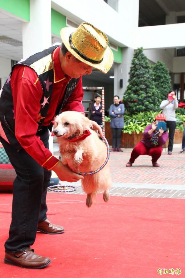 黎明狗學校校長蔡慶榮與狗明星進行表演。(記者林宜樟攝)