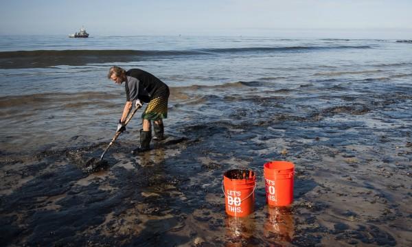 許多志工團體協助淨灘。(美聯社)