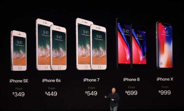 iPhone 8 宣布上市時間後,舊款機種趁勢降價,價格帶布局從萬餘元的SE到最貴的4萬元,通路商認為根本是向非蘋陣營叫陣。(法新社)