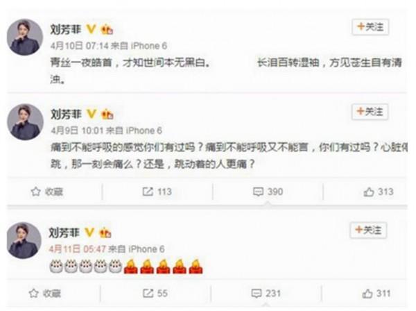央視主播劉芳菲在微博發出詭異動態,疑似對丈夫的死不能明說。(圖擷自南洋視界)