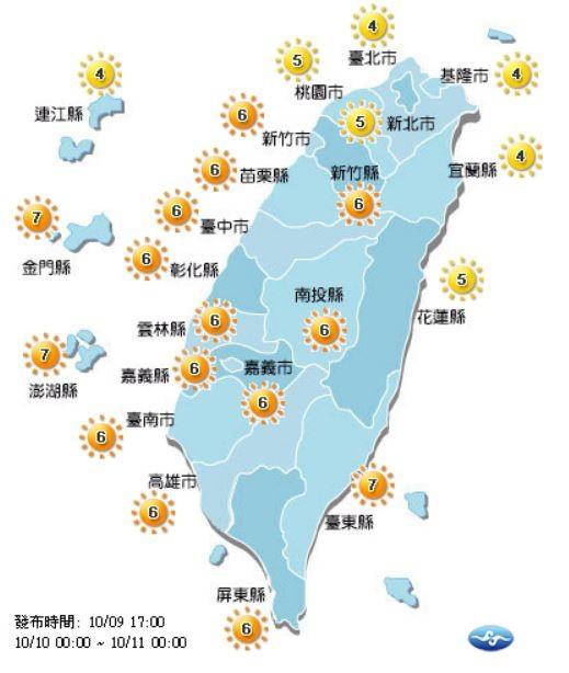 明天有7個縣市的紫外線指數達中量級、15個縣市為高量級。(圖擷取自中央氣象局)