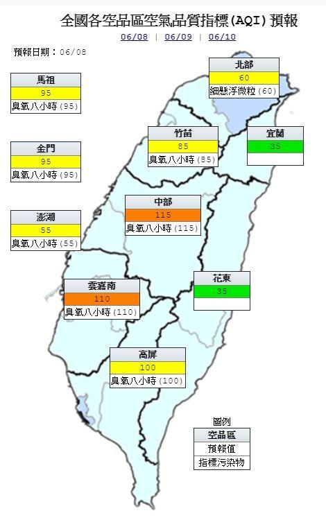 空氣品質方面,中部、雲嘉南為「橘色提醒」;北部、竹苗、高屏及馬祖、金門、澎湖地區則為「普通」,宜蘭、花東地區則為「良好」。(圖擷自環保署)