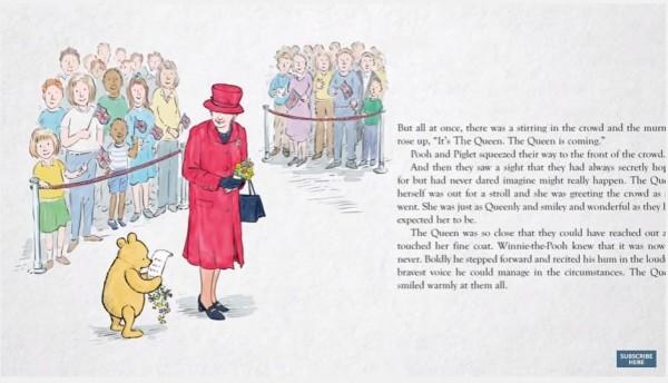 維尼成功找到女王,並將牠所作的詩獻給女王,並親口為女王朗誦。(圖擷取自YouTube)