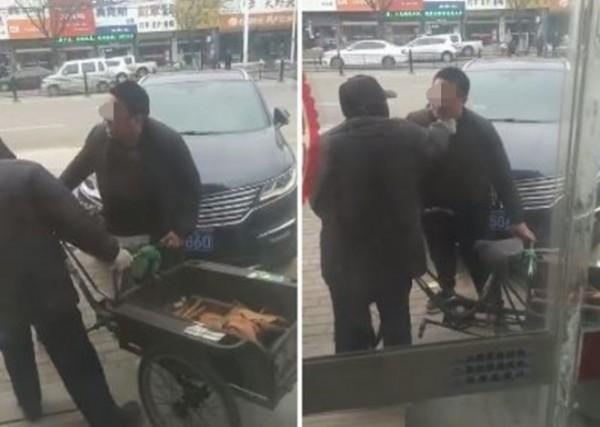 一名駕駛于山東濰坊青州市街道與91歲三輪車老翁發生擦撞意外。(圖擷自微博《微濰坊身邊事》)