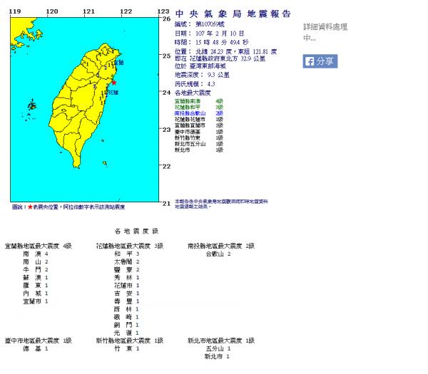花蓮縣今天下午再度發生有感地震!(圖擷取自中央氣象局)