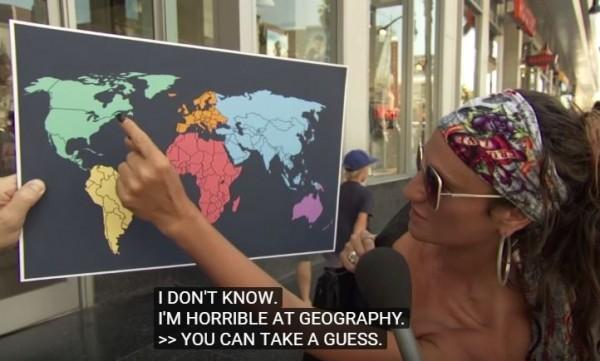知名脫口秀《吉米夜現場》,日前在洛杉磯的好萊塢大道,隨機要民眾在世界地圖上指出北韓的確切位置,但多數受訪者答不出來。(圖擷取自YouTube影片)