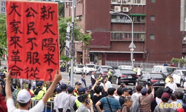反對年金改革的群眾抗議活動。(資料照,記者劉信德攝)