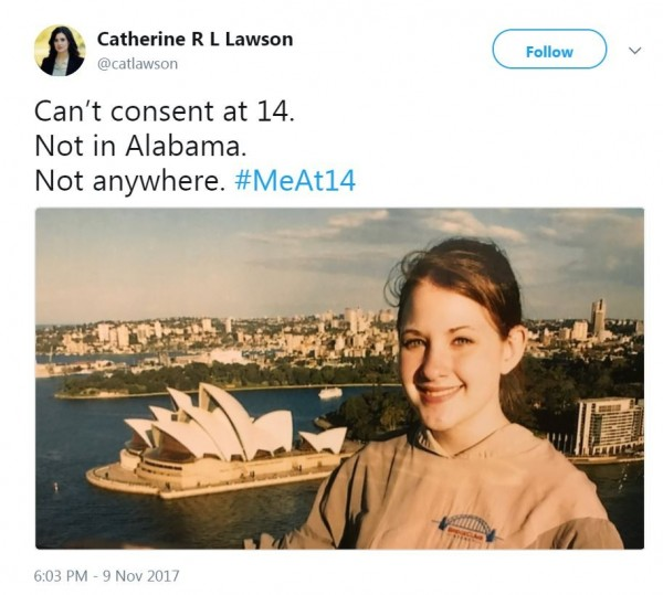 第一個使用「#14歲的我」發文的是北卡羅來納州律師勞森,她表示,「14歲沒能力同意,在阿拉巴馬州無法,在任何地方都無法。#14歲的我。」(圖擷自推特)