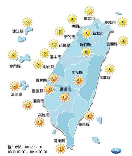 紫外線方面,明天南投縣、雲林縣、嘉義縣市、台南市、高雄市、台東縣、屏東縣及澎湖縣呈高量級;其他區域皆呈中量級。