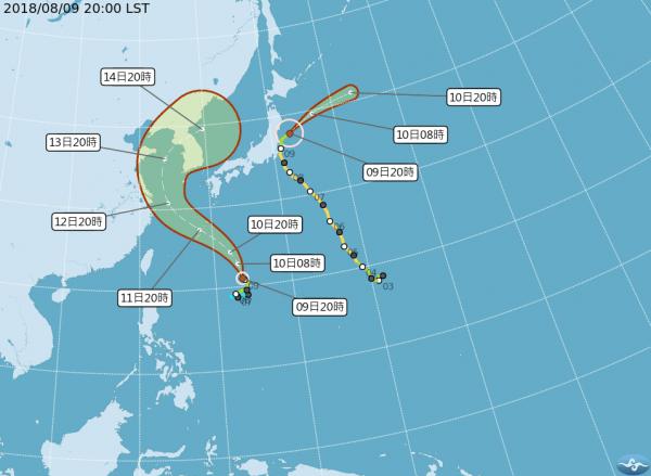 今年第14號(輕度)颱風「摩羯」最快本週末將影響琉球群島,直接影響台灣機率較低,計畫到琉球的民眾請多留意颱風最新動態。(圖擷取自中央氣象局)