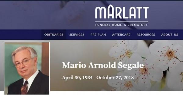西雅图开发商玛利欧.西格尔(Mario A. Segale),于上月27日过世,享寿84岁。(图翻摄自marlattfuneralhome.com)