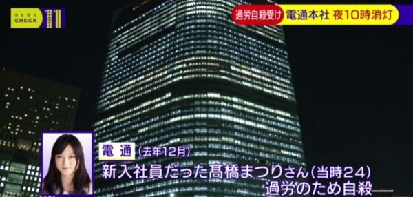 電通大樓原本在夜間,會呈現燈火通明的樣子。(圖擷取自NHK)