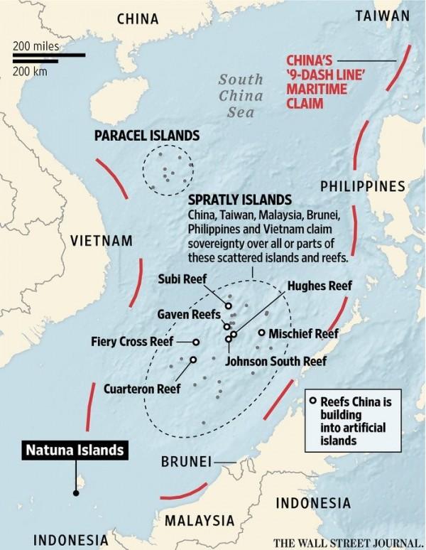 南海仲裁案今天公布結果,海牙的常設仲裁法院裁決中國「九段線」在國際法之下沒有效力,沒有法律根據。(圖擷自推特)