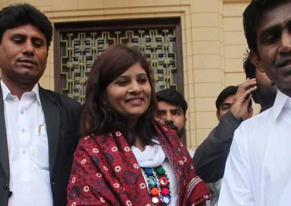 巴基斯坦人民党籍的库马里(Kirshna Kumari Kolhi),3日赢得参议员资格。(法新社)