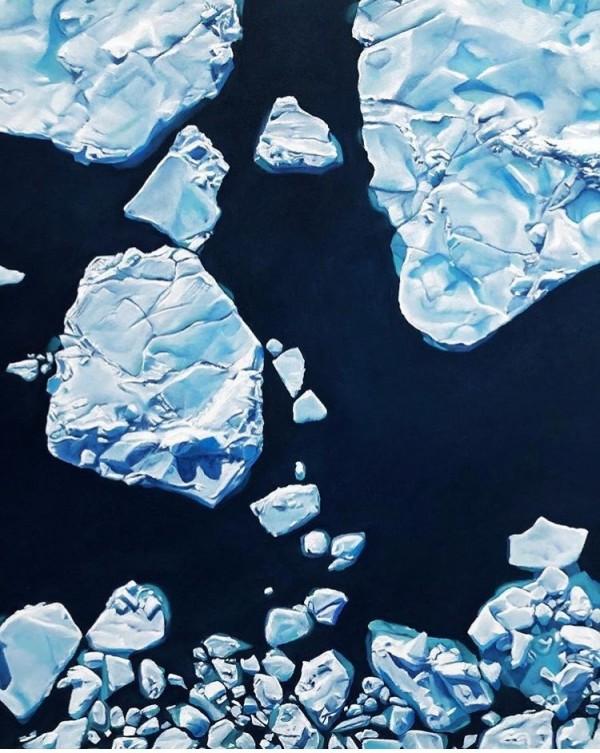 福爾曼畫下極地地區融化速度驚人的景象,呼籲人們對氣候變遷採取更積極的行動。(圖片擷取自Zaria Forman臉書)