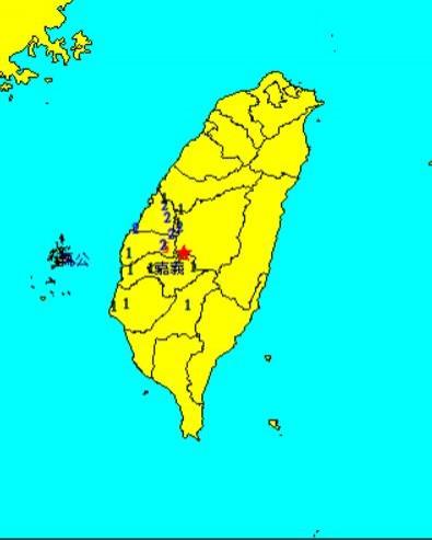 南投縣竹山鎮於今日上午8時38分發生芮氏規模3.8地震,震源在南投縣政府南方30.1公里,震源深度為20.6公里。(圖擷自中央氣象局)