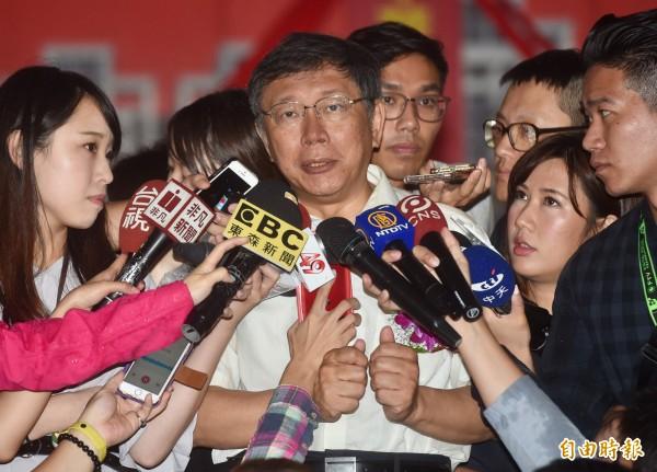 台北市长柯文哲表示,议员关心的地方需求,容易做的都做了,困难的一时也难解决。(记者简荣丰摄)
