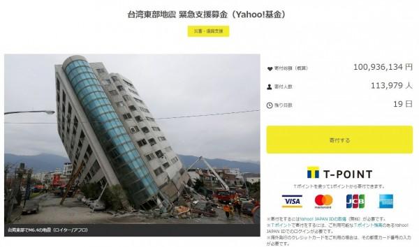 日本雅虎網站針對花蓮地震開設捐款專頁,截至今晚9時20分,捐款數字已突破1億日圓,捐款人數也逾11萬人。(翻攝日本雅虎網站)