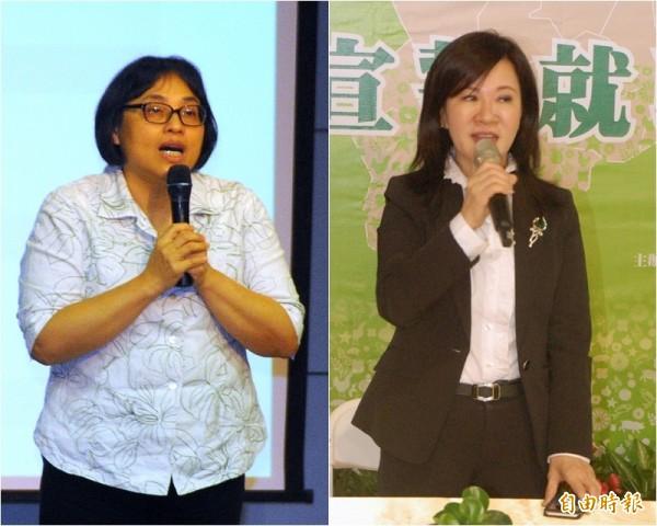 雲林縣環保局長曾春美(左)請辭獲准,由副縣長張皇珍暫兼代環保局長(右)。(記者林國賢攝)