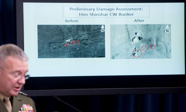 美國參謀首長聯席會議主管麥肯錫中將也用精確、壓倒性、有效3個字形容這次成功的攻擊行動。(法新社)