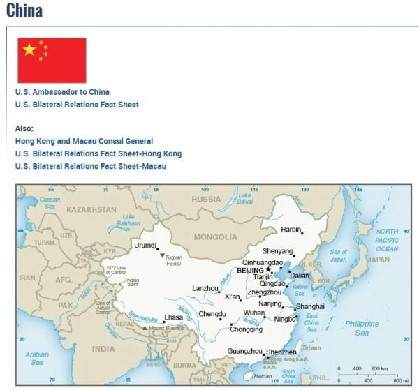 美國國務院網站「國家與地區」項目、中國國情簡介頁面裡,台灣被納入中國版圖、標註同色。(擷取自美國國務院官網)