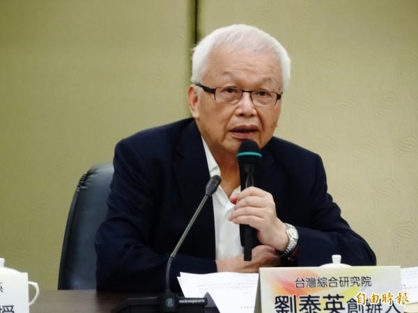 劉泰英近日接受媒體專訪,他透露連戰在2000年參選總統時花了120億元。(資料照,記者王孟倫攝)