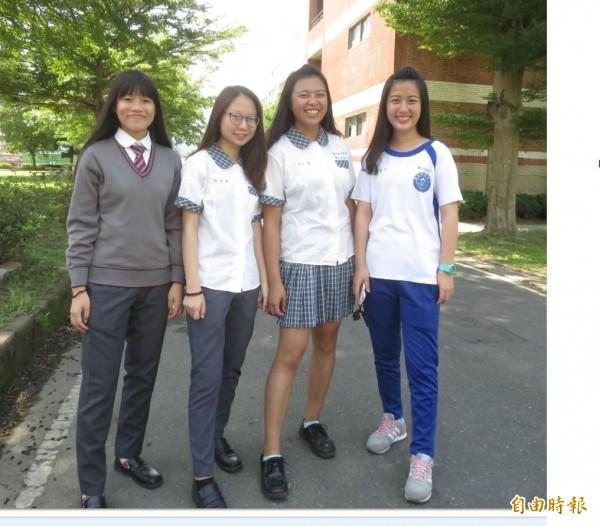 國立水里商工女學生穿著各式校服,展現青春風采。(記者劉濱銓攝)